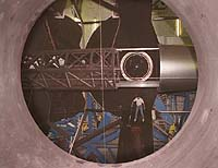 Technicians clean mirrors on Keck II telescope